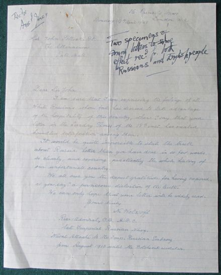 Admiral Nicholas Volkoff White Russian Emigre Signed Letter 1948 Sir J. Pollock